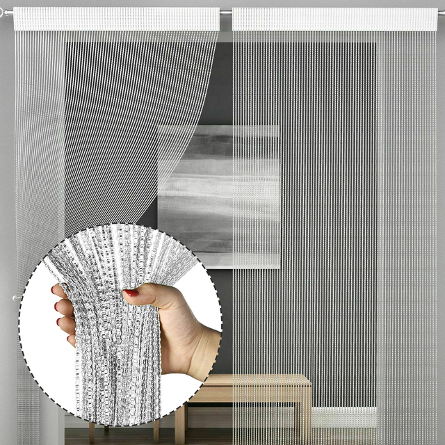 Shiny Tassel-Line Curtains 6