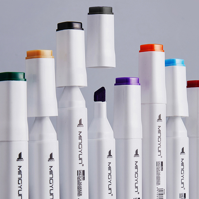12/24/36/48/60 Colors Dual Tip Art Marker Pens Fine Liner Markers Watercolor Drawing Painting Pen Brush School Supplies 04379 3