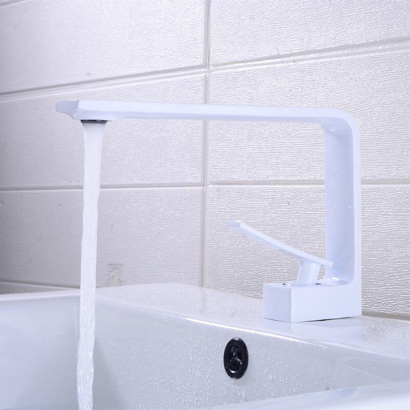 Grifo de latón blanco mate grifo de lavabo grifo de baño caliente y frío grifo de lavabo grifo de baño Irrigación 2 vías grifo jardín Válvula de riego manguera divisor 2 vías adaptador de conector rápido 1 Uds