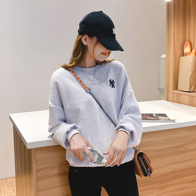 Autumn And Winter New Korean Women's Wear Embroidered Round Collar Guard Womens Hoodies Pullover