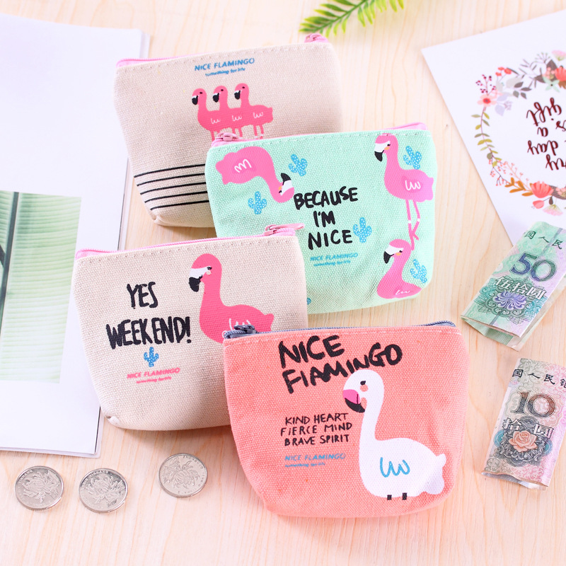 New Style South Korea Hipster Flamingo Purse Simple Cute Canvas Fabric Mini Purse Cartoon Coin Bag