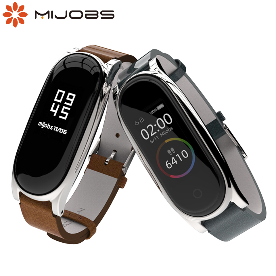 Mijobs PU Leather Wrist Strap For Xiaomi Mi Band 4 3 Strap Bracelet Mi Band 3 Wristband Smart Watch Correa Mi Band 4 Accessories
