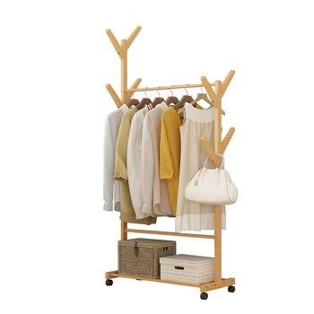 Clothes hanger creative living room hanger Nanzhu floor-to-ceiling clothes shelf bedroom mobile storage rack