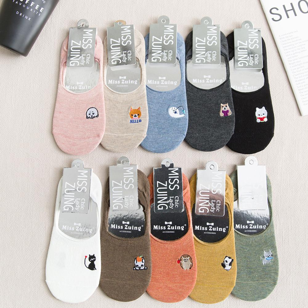 Harajuku Japanese Invisible Short Boat Socks Cute Cartoon Animal Embroidered Solid Color Non-Slip Cotton Hosiery Women Girls
