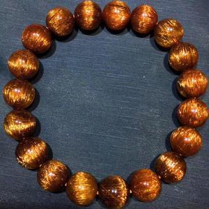 Image 5 - Gema de Cuarzo rutilado de pelo de cobre Natural genuino elástico redondo cuentas de cristal pulsera 10,5mm efecto ojo de gato raro AAAAA