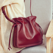 Quality Genuine Leather Bucket Bags for Girls Women Shoulder Bags