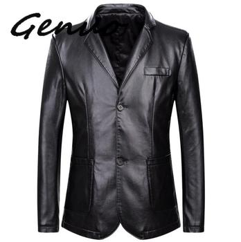 spring and autumn loose lapel leather jacket men plus size leather casual jacket mens leather coat