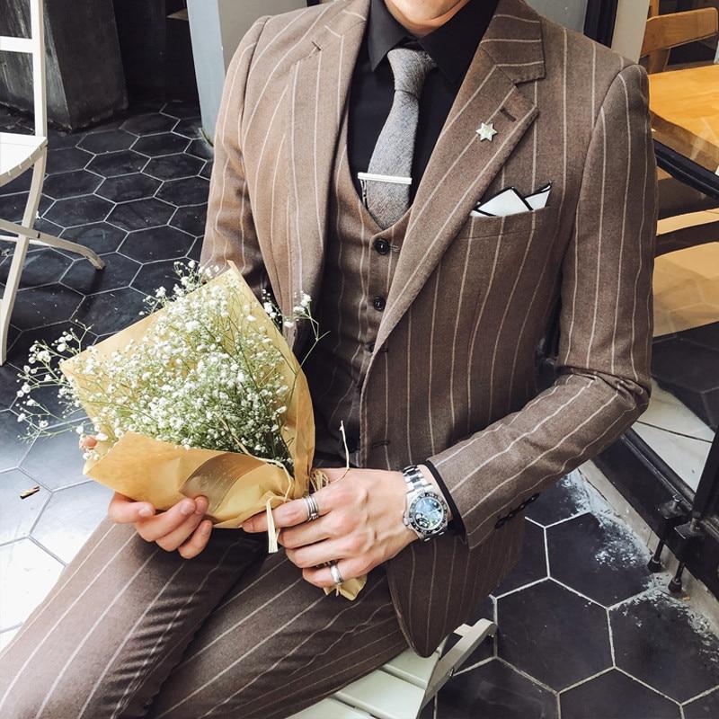 2020 Spring Grooms Suit Stripe Wedding Suit Luxury Slim Fit Smoking Uomo Men Tuxedo Suit Smoking Homme Mariage Ternos Masculino