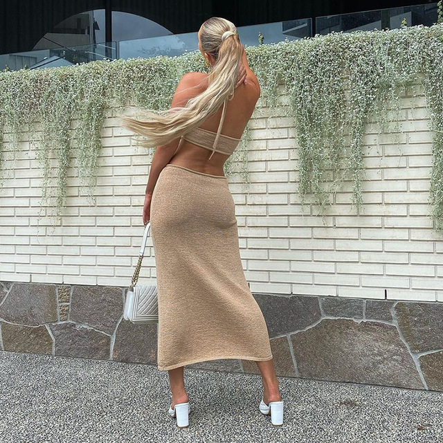 BOOFEENAA Sexy Vacation Outfits Knitted Halter Maxi Dresses for Women 2021 Elegant Dress Sets Holiday Beach Sundresses C76-CZ25 4