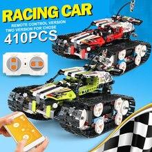 Funzione di accensione del motore RC cingolato RACER tecnica elettrica App telecomando auto Building Blocks mattoni regali di natale per bambini