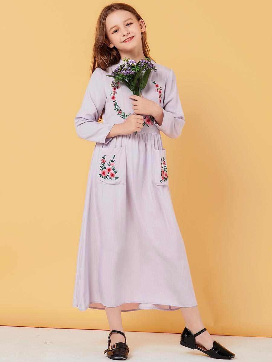 Ragazze Musulmane Si Vestono di Fiori Bambini Abaya Dubai Turchia Bangladesh Abiti Kaftan Turco Abbigliamento Islamico 2020 Vestidos De Verano