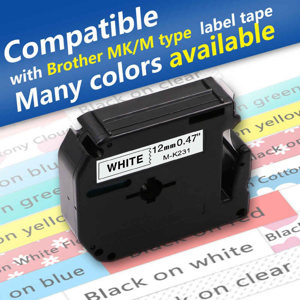 6PK M-K231 MK231 MK131-MK731 Label Tape Set 12mm For Brother P-Touch PT-65 70 75