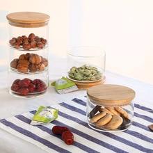 Transparent Storage Jars Stackable Mason Borosilica Glass Jar Kitchen Food Bulk Container Set Candy Cookie Fruit Storage Can
