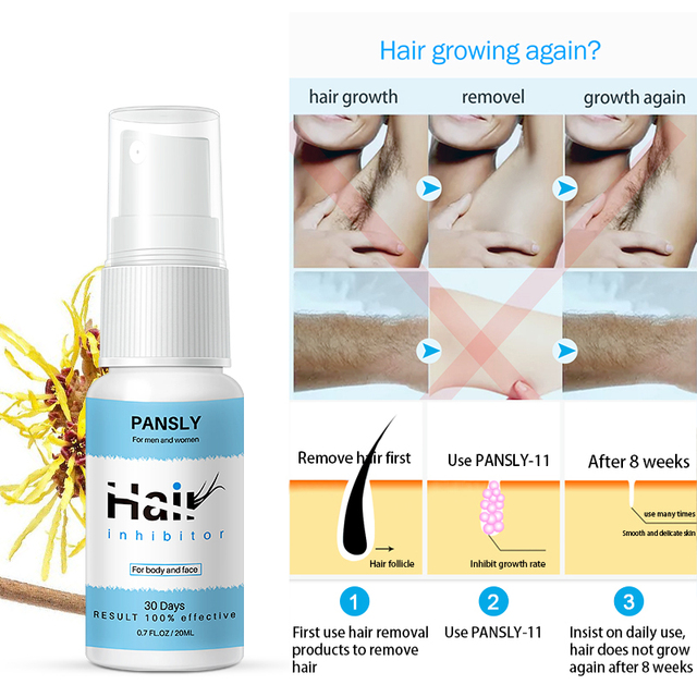 Painless 100% Natural Hair Remover Spay Hair Growth Inhibitor Spray Hair Removal From Body Legs Armpit Facial Unisex 2