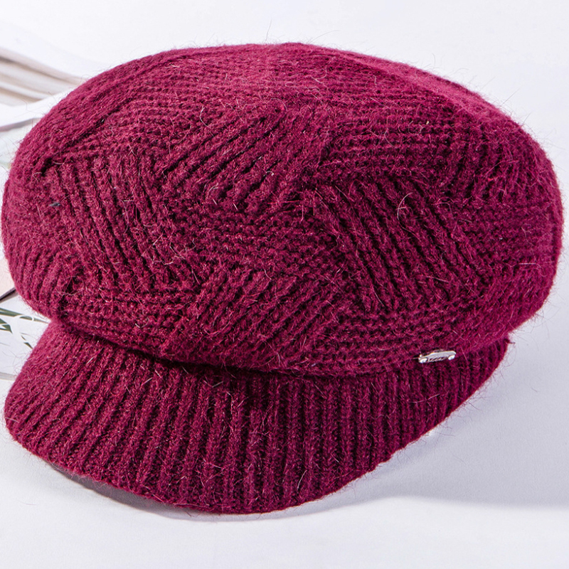 HT2611 Autumn Winter Hats Ladies Berets Women Rabbit Fur Hat Thick Warm Fleece Lined Knitted Hat Female Newsboy Cap Beret Hat in Women 39 s Newsboy Caps from Apparel Accessories