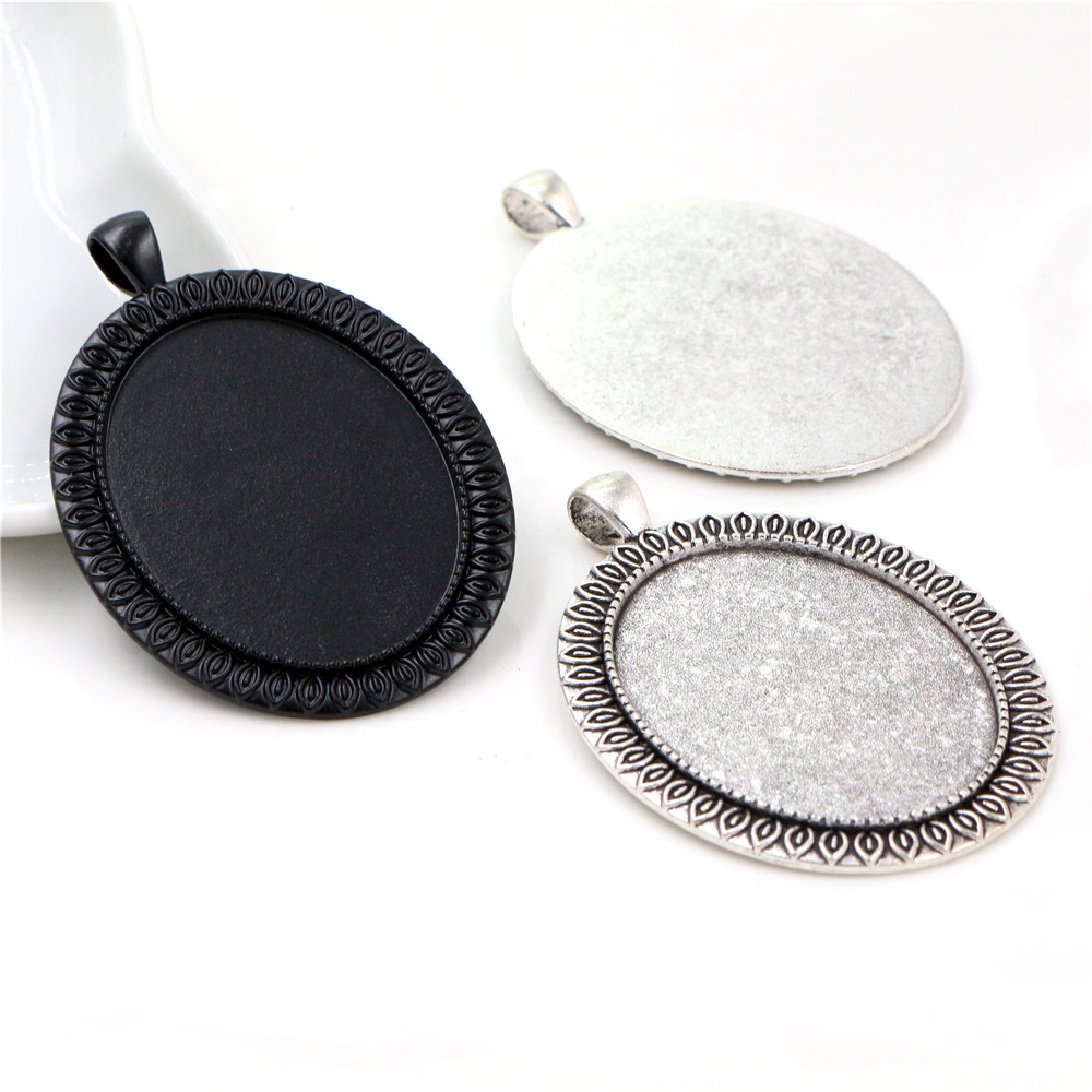 New Fashion 5pcs 30x40mm Inner Size Antique Silver Plated Black Plated Simple Pattern Style Cabochon Base Setting Pendant Tray