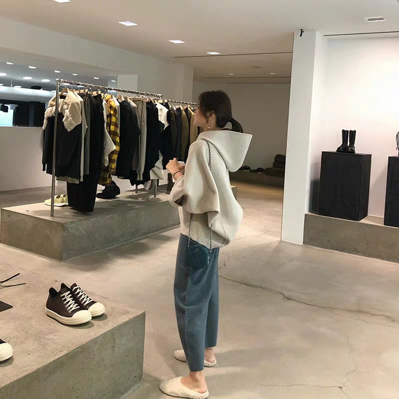 New Two Piece Suit Oversize Women Suits Wide Leg Pants Set Hoodies Sweatshirt Female Coat Autumn Fleece Harajuku Pullover Fleece