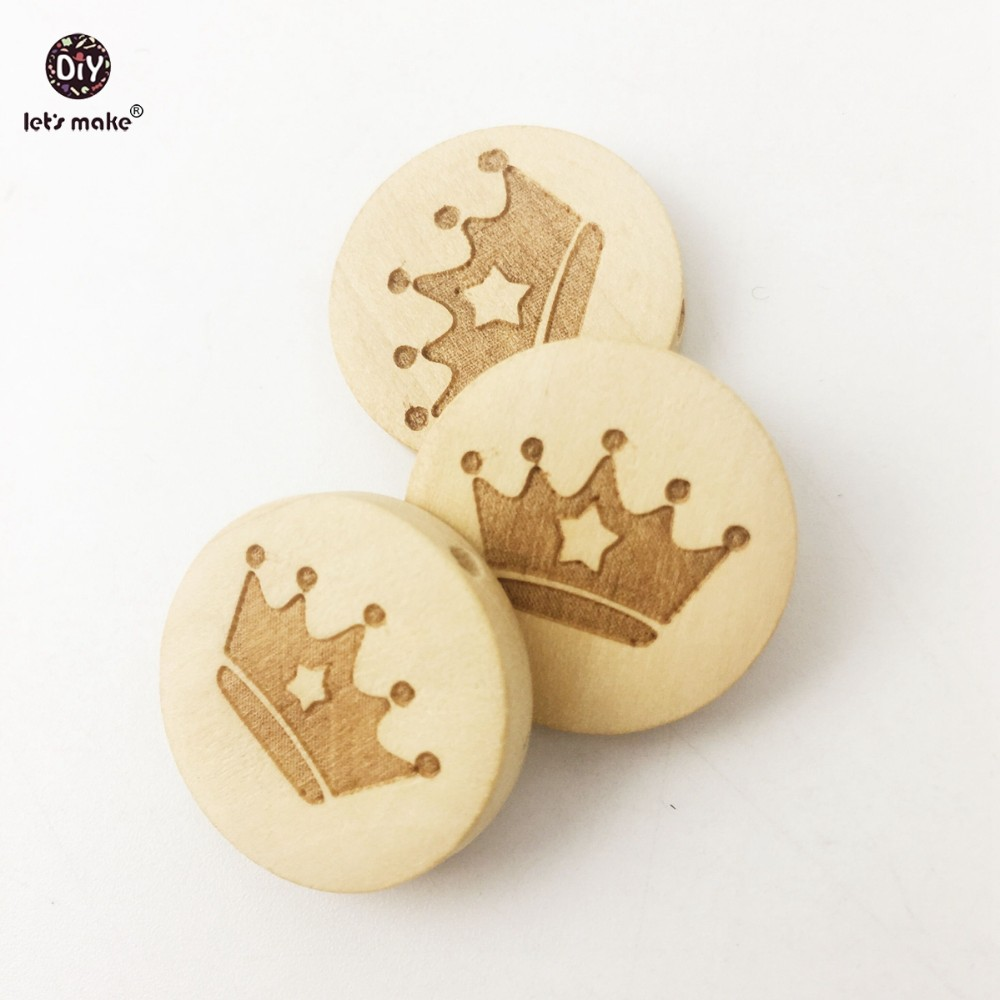 Let's Make Wooden Beads 50pc Engrave Lettering Circle Environmental Protection Original Smooth  Bracelet Beads Baby Teether