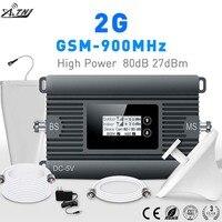 Novo produto! 80dbi ganho 2g 900mhz amplificador gsm telefone celular amplificador de sinal repetidor conjunto completo