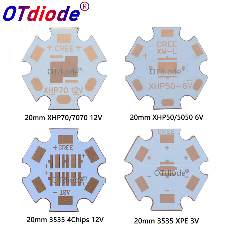1-10 PCS 20mm Copper PCB Cree XPG XPG2 XPE2 XML XML2 XHP50 XHP70 MKR 3V6V12V Led PCB 20mm X 1.6mm Copper Star 16mm Heatsink PCB