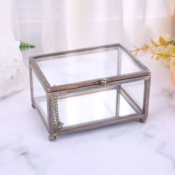 Nordic Transparent Glass Wedding Ring Box Eternal Flower Storage Holder Decor