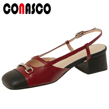 CONASCO Fashion Concise Casual 2020 Summer New Genuine Leather Women Sandals Metal Decoration Square Toe Thick Heels Shoes Woman