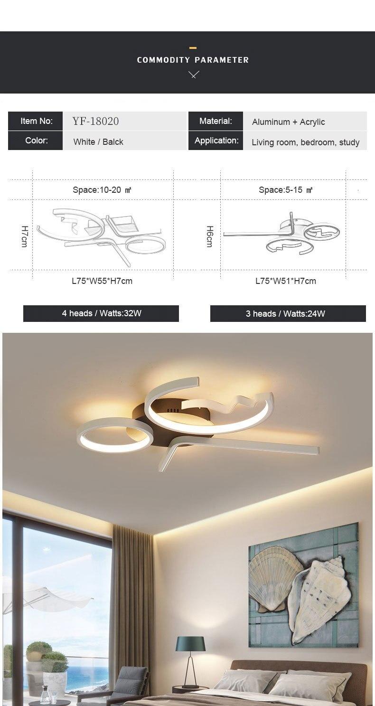 H1e37d88e4ee84880a7a8decbc2529a9fD Aluminum Wave Ceiling Lights Modern LED Lamp for Living room Bedroom luminaire plafonnier Bedroom Ceiling Lamp Lampara de techo
