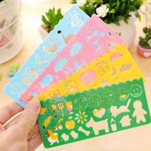 4pcs/set Kids Drawing Toy Board Learning Toy Plastic Ruler Craft Educational Drawing Pad Toy for Children Creative Sets Kid Toy