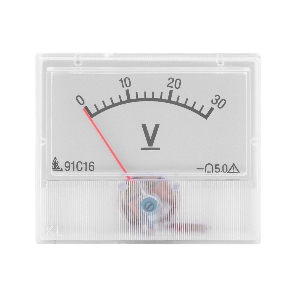 Top   Professional DC 0-30V Analog Volt Voltage Panel Meter Voltmeter Gauge With Class 2.5 Accuracy