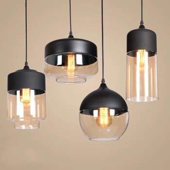 Nordic LED Pendant Light Clear Glass Lampshade Loft Pendant Lamp E27 Dinning Room Home Deco Hanging Lamp Lighting Fixtures Avize