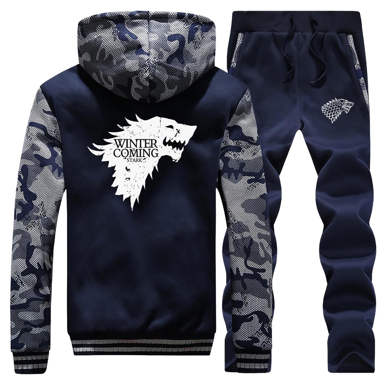 Winter Is Coming Hoodie Sweatshirts Sets Men Tracksuit Wolf Jacket+Pants 2 Piece Set Mens Camouflage Hoodies Trousers Warm Suit