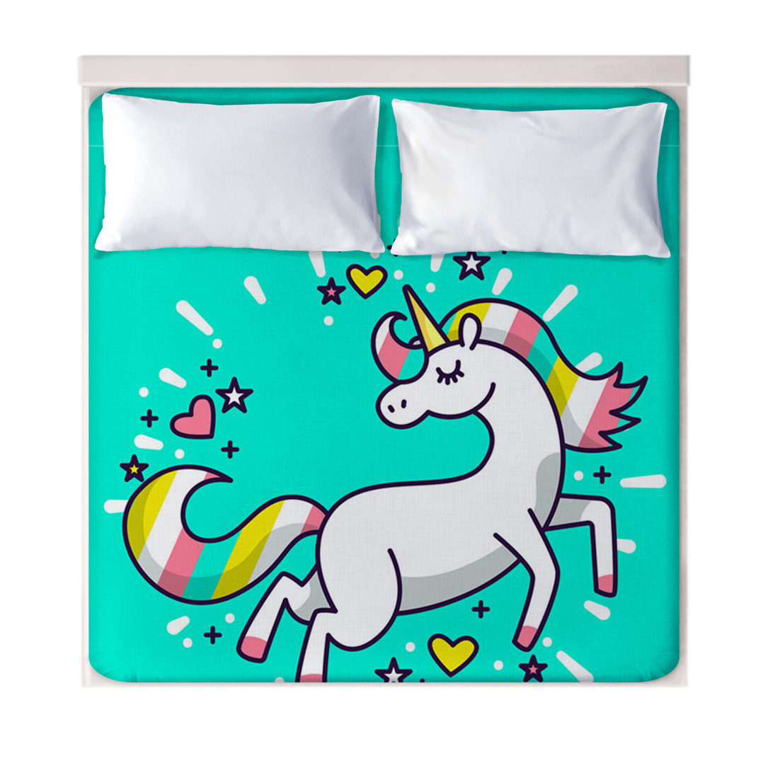 3D Cartoon Unicorn Fitted Sheets