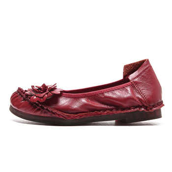2020 Retro Genuine Leather Flats Shoes for Ladies Hand-Sewn Leather Soft Loafers Female Casual Shoes Solid Vintage Women Shoes