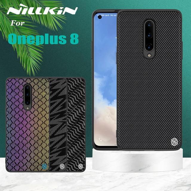 Oneplus 8 プロきらめきケース nillkin 質感ナイロン繊維高級耐久ノンスリップフルカバーポリエステルのための 1 プラス 8 プロ