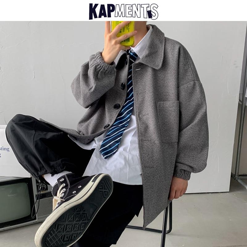 KAPMENTS Men's Winter Coats Thick Woolen Jackets 2020 Vintage Man Japanese Streetwear Pockets Jacket Male Korean Coats Jackets