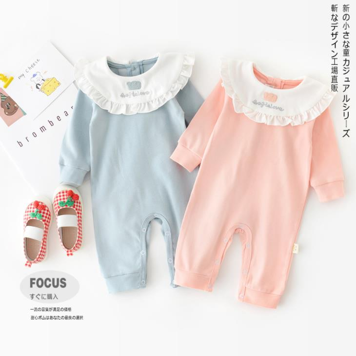 Spring 20 new romper embroidered crown Lapel baby Jumpsuit solid cute infant clothes cotton romper image