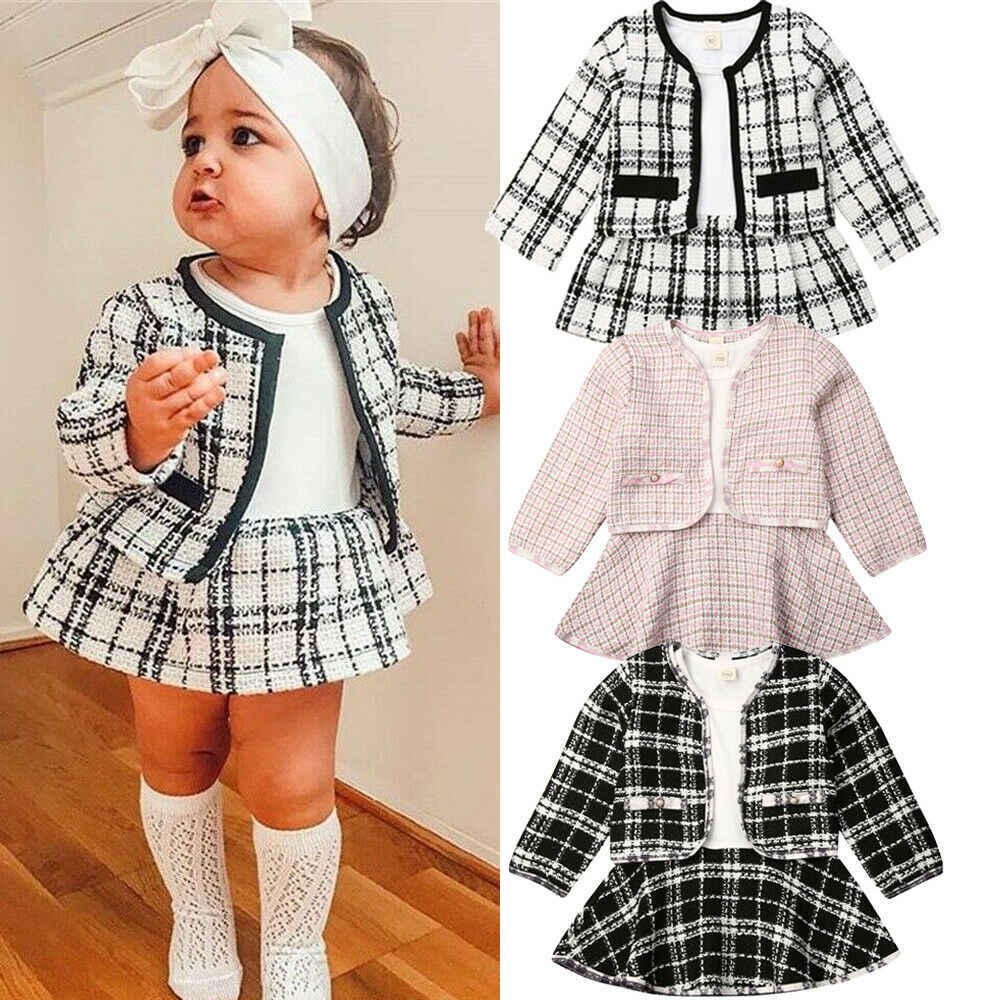 2019 Autumn New 1-6 Year Kids Baby Girls Clothes Set Long Sleeve Plaid Coat Tops+mini Dress 2Pcs Warm Outfits