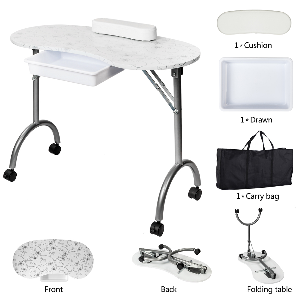 【US Warehouse】Portable MDF Manicure Table With Arm Rest & Drawer Salon Spa Nail Equipment White Free Drop Shipping USA