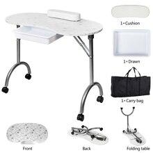 Нас складПортативный МДФ маникюрный стол с подлокотника и ящик ногтя Спы салона оборудование Белый Drop доставка США