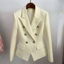 HIGH STREET Newest 2021 Classic Designer Blazer Women's Lion Buttons Double Breasted Slim Fit Textured Blazer Pastel yellow