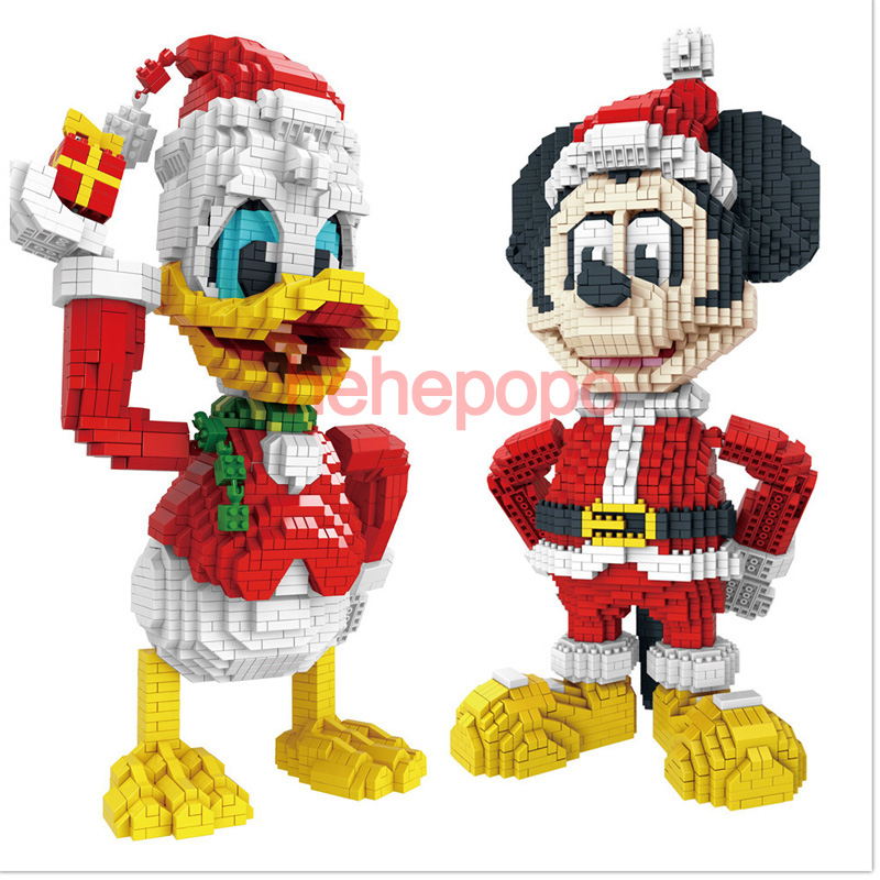 Donalded Duck Mini Building Block Christmas Gift Red Mickeyed Disneying Mouse Castle Anime Diamond Micro Brick Toys
