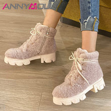 Annymoli зимние сапоги женская обувь на платформе ботильоны