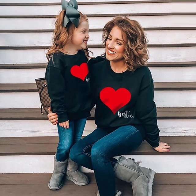 Autumn Mother Daughter Son Sweatshirt Cute Family Matching Clothes Mommy and Me Sweaters Clothes Outfits Look Boys Girl Mom Tops