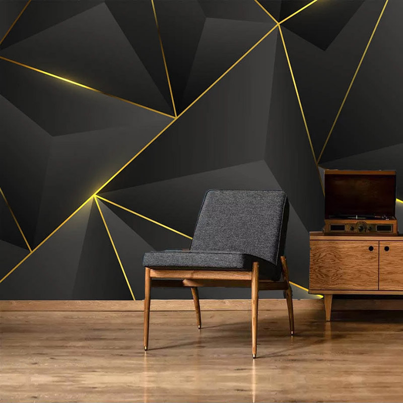 Custom Photo Wall 3D Abstract Geometric Gold Striped Wallpaper Mural Papel De Parede Living Room Sofa TV Background Home Decor