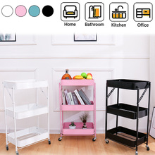 Foldable Alloy 3 Tier Rolling Pantry Storage Utility Cart Mobile Kitchen Trolley Storage Rack Movable Bathroom Bedroom Organizer