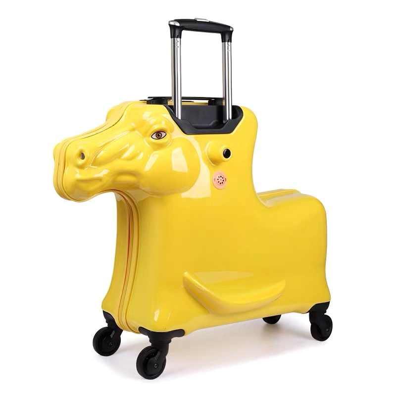 Nueva maleta de viaje de caballo de dibujos animados en 3D con ruedas para niños