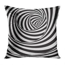 Абстрактная наволочка для диванной подушки черно белая полосатая