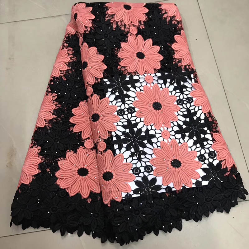 Peach Black African Cord Lace Fabric Water Soluble Wedding Lace Stones 2019 High Quality Swiss Voile