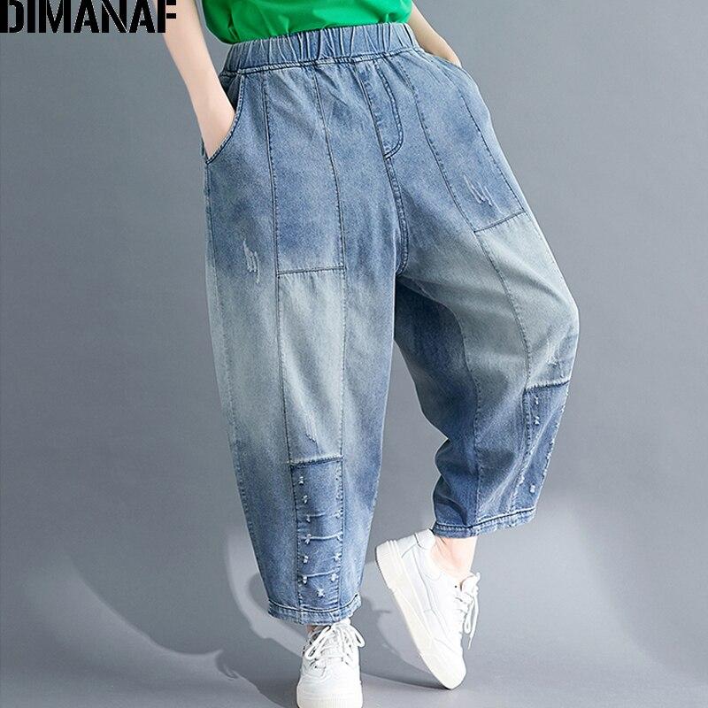 DIMANAF Plus Size Women Pants Vintage Denim Autumn Winter Spliced Loose Big Size Trousers Pantalones Female Jeans Long Pants New