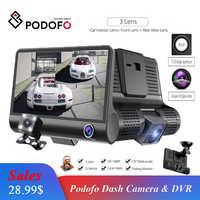 Podofo voiture DVR 3 caméras lentille 4.0 pouces Dash caméra double lentille avec caméra de recul enregistreur vidéo Auto enregistreur Dvrs Dash Cam